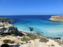 Sea of the LAMPEDUSA island in Italy stock photos