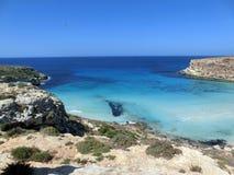 Sea of the LAMPEDUSA island in Italy Stock Photos