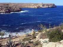 Sea of the LAMPEDUSA island in Italy Stock Image