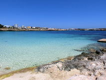 Sea of the LAMPEDUSA island in Italy stock images