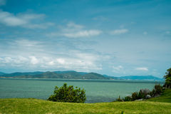 Sea between land. Mountains in the background viewed from an island. This was taken in Florianópolis, Santa Catarina, Southern Brazil Stock Photography