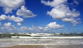 Sea landscape. With  blue sky and white clouds Royalty Free Stock Photo