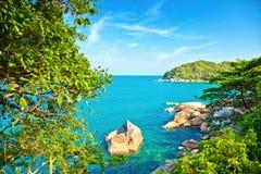Sea landscape. Sea, beach and blue sky Royalty Free Stock Image
