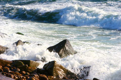 Sea landscape. With rocky granite  coast Stock Images