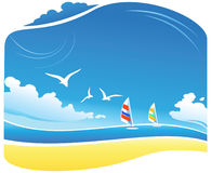 Sea Landscape. Tropical Beach illustration, Wind-Surf, seagulls, and clouds Stock Photos