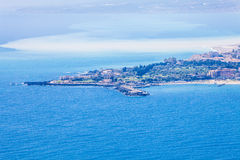 Sea landscape aerial view, Giardini Naxos. Taormina, Sicily. Italy. Sicily is the largest island in southern Italy. Blue sea aerial view Royalty Free Stock Photography