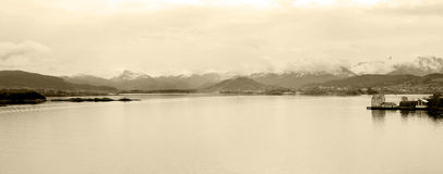 Water and Landscape Panorama, Alesund Interior Bay, Snowy Mountains, Norway - Sepia Stock Photography