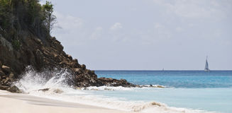 Sea landscape, Antigua. Sea landscape in Antigua cost shipe royalty free stock image