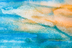 Sea landscape background hand painted in watercolor. Hand painted watercolor sea landscape background. Sunrise over blue water in modern art performance. Closeup royalty free stock images