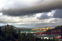 Sea landscape with bad weather and cloudy sky Stock Photography