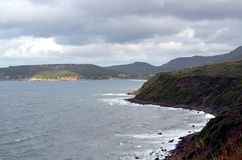 Sea landscape with bad weather and cloudy sky Stock Photo