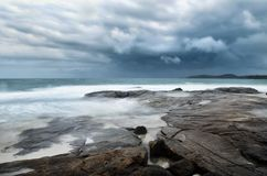 Sea landscape with bad weather Royalty Free Stock Image