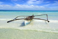 Sea landscape with bangka at Anda beach. Royalty Free Stock Photos