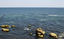 Sea landscape on the Black Sea coast near the bay, water of azure color Stock Photos