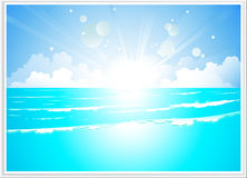 Sea landscape with bright sunrise and wave Royalty Free Stock Photography