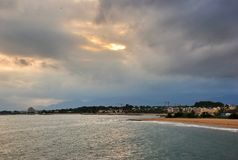 Sea landscape in Cambrils Spain. Cambrils the small tourist town grew from the fishing settlement in 17 km from Tarragona and in 4 km to the south of Salou Royalty Free Stock Image