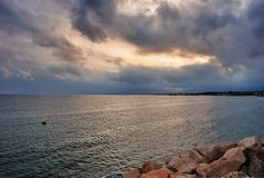 Sea landscape in Cambrils Spain. Cambrils the small tourist town grew from the fishing settlement in 17 km from Tarragona and in 4 km to the south of Salou Royalty Free Stock Photo