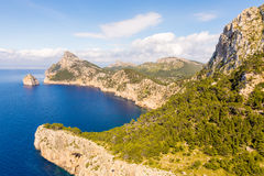 Sea landscape at the cape Formentor, Majorca, Spain Stock Photos