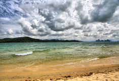 Sea landscape with clouds stock photography