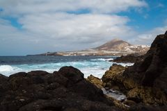 Sea landscape on the coast of Gran Canaria. Galdar. Blue sky wit stock photo