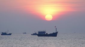 Sea landscape at dawn when fishing boats out to sea to harvest fish