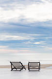 Sea Landscape dock platform with two chairs Love concept Stock Photography