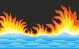Sea landscape with fire. The Sea landscape with bright fire Stock Photography