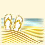 Sea landscape with flip-flops Royalty Free Stock Photos