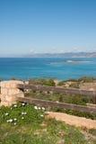 Sea landscape and flowers, Elafonisos, Greece Stock Photos