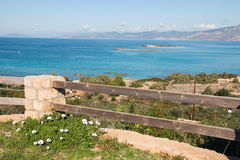 Sea landscape and flowers, Elafonisos, Greece Stock Images