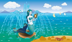 Sea landscape with a fountain. And a mermaid Royalty Free Stock Photography