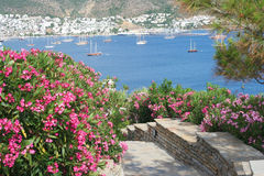Sea landscape and homes at Bodrum Stock Image