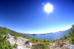 Sea landscape with islands - fish eye photo Royalty Free Stock Images