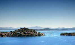 Sea landscape with islands and old town, Croatia Stock Photos