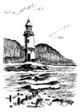 Sea landscape with a lighthouse. Sea hand drawn sketch illustration. Engraving poster for a children room. Beacon in the vector illustration