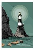 Sea landscape with a lighthouse. Sea hand drawn sketch illustration. Poster for a children`s room. Beacon Aniva Russia. vector illustration