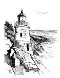 Sea landscape with a lighthouse. Sea hand drawn sketch illustration. Poster for a children`s room. Beacon on a rock in royalty free illustration