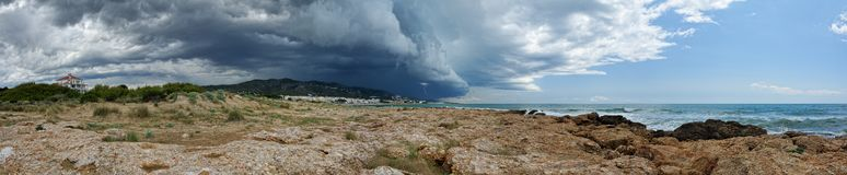 Sea landscape with lightning, Panoram Royalty Free Stock Photo