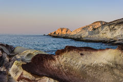 Sea landscape made of white mineral formations on Milos island, Greece Stock Images