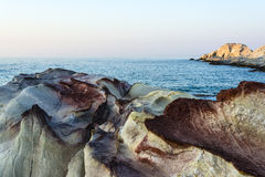 Sea landscape made of white mineral formations on Milos island, Greece Royalty Free Stock Photo