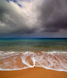 Sea landscape with moody sky Royalty Free Stock Images