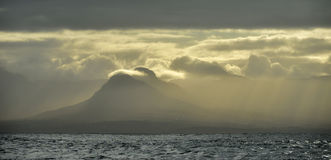 Sea landscape. An morning, Clouds sky and mountains. False bay. South Africa. Stock Photos