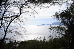 Sea landscape and mountain of La Ciotat, France Royalty Free Stock Images
