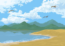 Sea Landscape with Mountains and Birds Stock Photos