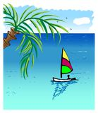 Sea Landscape. With sea or ocean and sky, colorful yacht, palm tree and birds. Summer design for a banner, postcard, invitation, etc Stock Photo