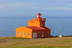Sea Landscape with Orange Lighthouse Stock Photos