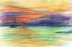 Sea landscape, orange sunset, yacht. Sea side, beach, mountains. Beautiful hand painting illustration. Pencil paint paper textured element for copy space royalty free stock photos