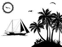 Sea Landscape with Palms and Ship Silhouettes Royalty Free Stock Images