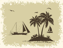 Sea Landscape with Palms and Ships Silhouettes Royalty Free Stock Images