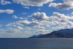 Sea and landscape at Peloponnese, Greece. Royalty Free Stock Photos